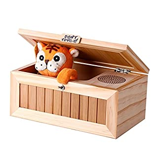 RONSHIN Wooden Useless Box Leave Me Alone Box Most Useless Machine Don't Touch Tiger Toy Gift with Sound