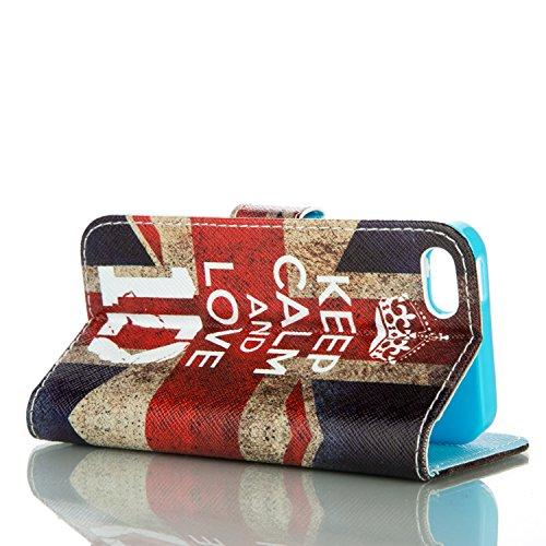 PU für Apple iPhone 5 5S SE Hülle,Geprägte Campanula Handyhülle / Tasche / Cover / Case für das Apple iPhone 5 5S SE PU Leder Flip Cover Leder Hülle Kunstleder Folio Schutzhülle Wallet Tasche Etui Sta 3
