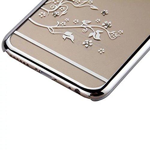 Etsue Transparente PC Schutzhülle für iPhone 7 Plus (5.5 Zoll) 2016, Kratzfeste Plating Golden Rahmen Glänzend Glitzer Sparkle Strasssteinen Diamant Ultradünnen Durchsichtig Handyhülle Crystal Case Kl Schmetterling,Silver