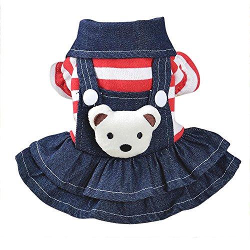 Tonsee Hund Welpen Kleid, Herbst Winter Cute Kleidung Doggy Kostüme Denim Kleider Warme Streifen T-Shirt Strap Rock (L, Rot)