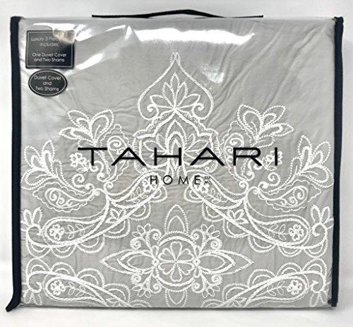 Tahari Home 100% Baumwolle Gesteppt Floral Damast Full Queen Bettbezug-Set Strukturierte Nähte Bestickt Medallions Modern Queen Neutrales Grau -