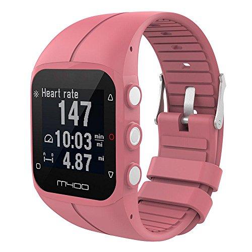 KOBWA Polar M400/M430 - Correa de silicona para reloj deportivo Polar M400 y M430, color rosa