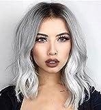 Vébonnie - Perruque blonde avec racines foncées tendance - Modèle carré court - Cheveux synthétiques - Look naturel - Pour femmes