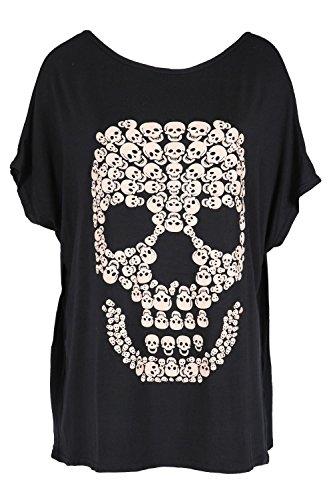 Damen Halloween Baggy Lagenlook Top Damen Gespenstisch Schädel Fledermausärmel Unheimlich Locker Sitzend T-shirt - Schwarz, (Frauen Halloween Für T Shirts)