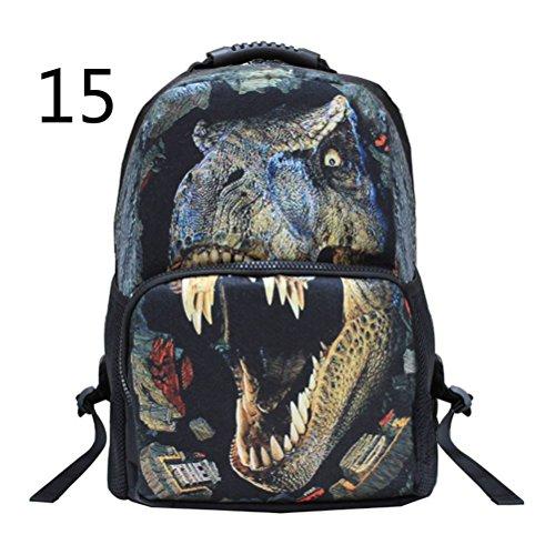 Pixnor Unisex Schulrucksack Taschen 3D Animal Print Reisen Wandern Tagesrucksäcke Dinosour