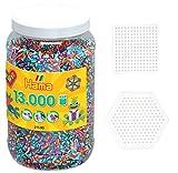 Happy Price Toys Hama Perlen 13.000 Perlen gestreift 90 in Dose + 2 Hama Stiftplatten im Set