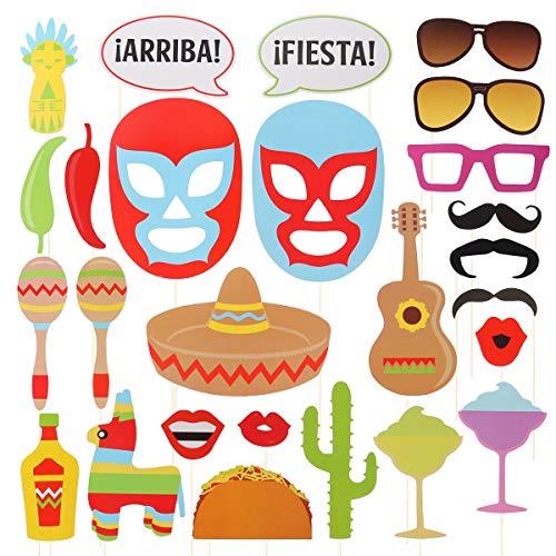 Amosfun 26 stücke Mexiko Party Photo Booth Props Kit Phantasie Selfie Requisiten Dress Up Zubehör Pose Zeichen Party Favors