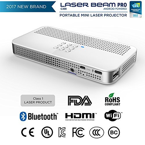 2017 NEW CES Awarded C200 Focus Free FDA Approved Class1 Eye Safe Laser  200 Lumens  4K input 768P HD output  Up to 150  Screen  Wi-Fi  Bluetooth  USB  SDslot  HDMI  Android OS equipped Projector