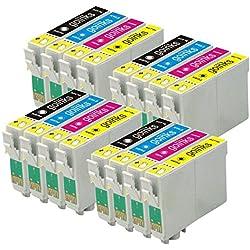 4 Go Inks Ensemble de 4 Cartouches d'encre à remplacer Epson T0615 Compatible/Non-OEM pour Epson Stylus Imprimantes (16 encres)