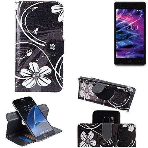 K-S-Trade Schutzhülle für Medion Life E5020 Hülle 360° Wallet Case Schutz Hülle ''Flowers'' Smartphone Flip Cover Flipstyle Tasche Handyhülle schwarz-weiß 1x