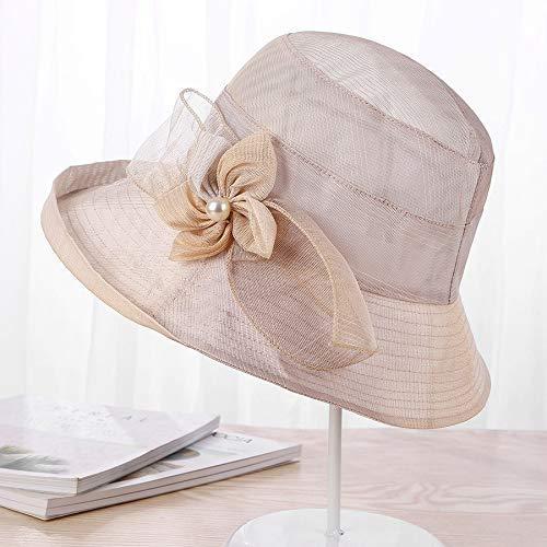 GONGFF Sommerhüte für Frauen Solide Satin Feather Floral Wide Brim Sonnenhüte Damen Floppy Hüte für Tee Kleid m (56 58cm) beigeBeach Hüte Wide Brim Floppy Packable Adjustable - Brim Packable Floppy-hut