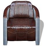 Festnight Clubsessel aus Echtleder Holzrahmen Sessel Armsessel Polstersessel ALS Relaxsessel Einzelsofa 79x71x90cm Dunkelbraun
