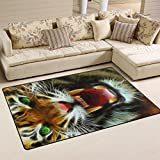 Naanle Angry Tiger - Alfombra antideslizante para salón, salón, dormitorio, cocina, 50 x 80 cm, alfombra para guardería, alfombra de yoga, diseño de tigre, multicolor, 50 x 80 cm(1.7' x 2.6')
