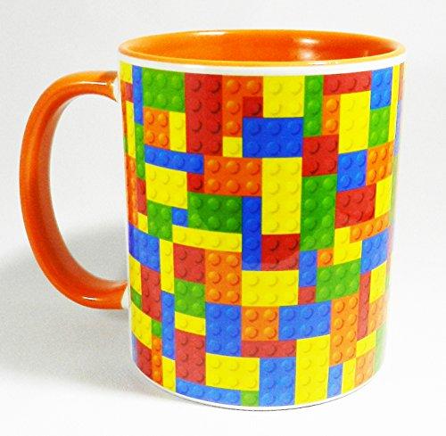Half a Donkey Brightly Coloured Tetris Style Building Blocks Mug with Orange Glazed Handle and Inner