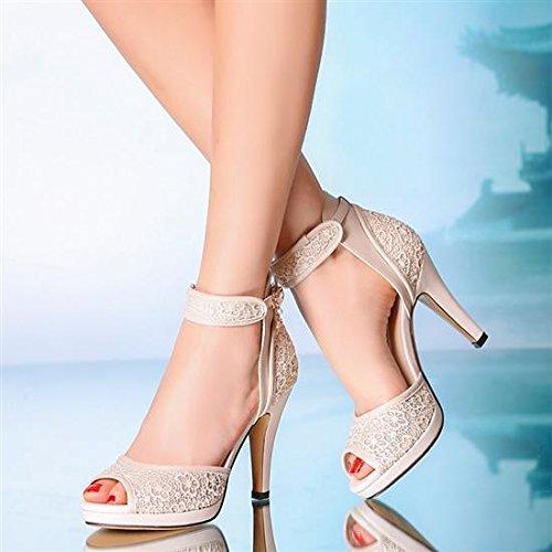 XINJING-S 10 cm Absatz Ivory Hochzeit Schuhe riemchen open toe Lace heels Bridal Stiefel Elfenbein