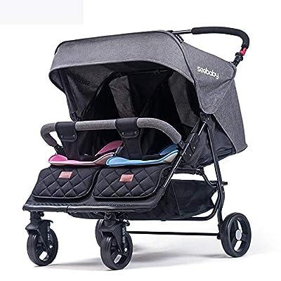 Ambiguity Doble Ligero Desmontable Silla de Paseo reclinable Plegable Carro suspensión Segundo niño Cochecito de bebé 80 * 75 * 105 cm