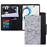 """Toplive Portfolio Case Padfolio, Executive Business Document Organizer with A4 Size Clipboard, Card Holder, Tablet Sleeve(Up to 10.5""""), Perfect for Business School Office Conference, Marbling Black"""