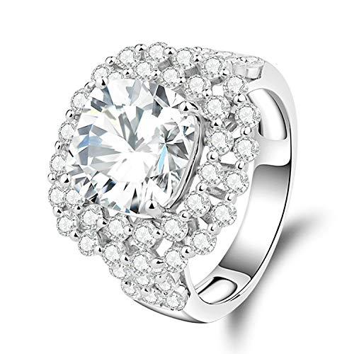 ng Silber Ring für Frauen Kissen mit weißen Zirkonia CZ geschnitten Jubiläums-Ewigkeitsring Größe 52 (16.6) ()