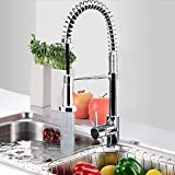 Warmiehomy Kitchen Mixer Tap Pull Out Spray + Swivel Flexible Hose Spout Chrome Kitchen Sink Tap
