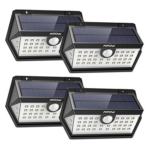 [Nouvelle Génération] Mpow Lampe Solaire Extérieur 4 Pack 40 LED Spot Solaire Etanche IP65, Détecteur de Mouvement, 3 Modes Intelligents, Grand Angle pour Allée, Escalier, Jardin, Mur, Maison, Patio