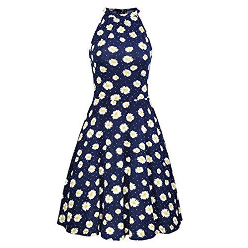 less Casual Print Dress Summer Beach Floral Print Sleeveless Casual Dress Outdoor (L, Marine) (Charakter Verkleiden Für Partys)