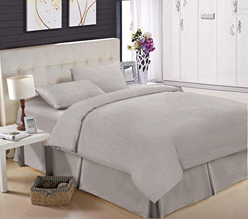 200 TC Base Valance 100% Egyptian Cotton Percale Box Pleated (Double, Grey)
