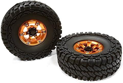 Integy RC Model Hop-ups C26178ORANGE High Mass Billet 6 Spoke SQ 1.9 Wheel & Tire (2) for Scale Crawler (O.D.113mm) | De Haute Qualité Et De Bas Frais Généraux