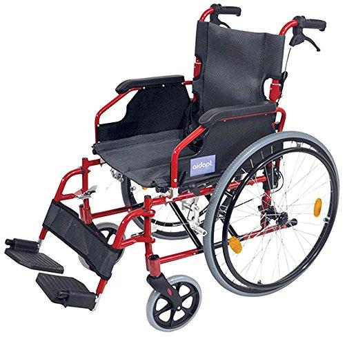 Aidapt VA165RED Deluxe Leichtgewichtiger Rollstuhl aus Aluminium, orange Test