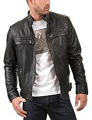 Leather4u KL738 cazadora de piel para hombre, piel de cordero, negro