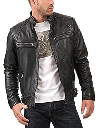 Leather4u Chaqueta de cuero para hombre, piel de vaca, Negro KL738