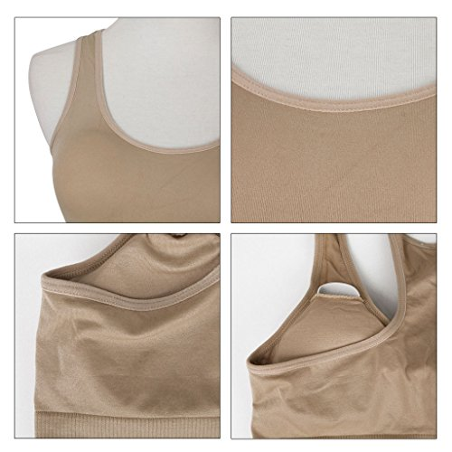 JNTworld Femmes Yoga extensible danse sportive Crop Top bra Fit Vest Abricot
