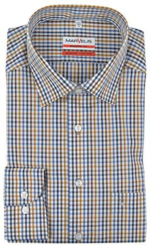 Marvelis Modern Fit Hemd New Kent Kragen bügelfrei schwarz/Camel/weiß Karo Reine Baumwolle, Größe:44