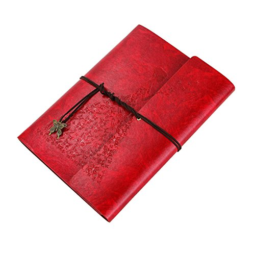 XIUJUAN Libreta Bonitas A5 Cuaderno Bloc de Notas Dibujo Hojas Blancas Cuero Vintage Journal Notebook, Regalos Originales Navidad San Valentín Cumpleaños Aniversario Boda para Mujer Bariposa Niña Rojo