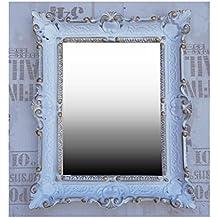 Espejo De Pared Negro Antiguo Barroco Reproducción Baño Decoración 56x46 2 Espejos