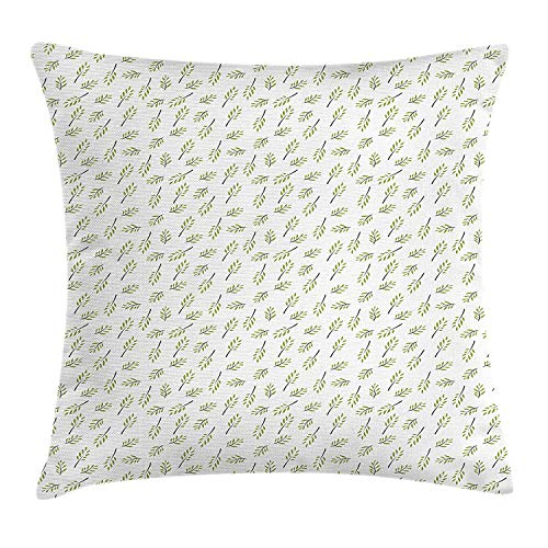 Cupsbags Gardening Throw Pillow Cushion Cover, Minimalist Illustration of Olive Tree Branch Repeating Pattern, Decorative Square Accent Pillow Case, Olive Green Grey and White20 Patterned Magnolia Branch