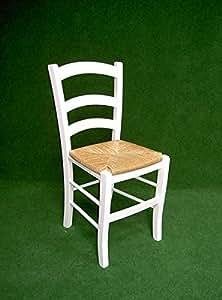VENELAQ Chaise style provençal hètre laqué blanc Assise paille de seigle véritable