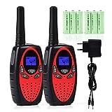 Tyhbelle 2er Funkgerät Walkie Talkie für Kinder PMR446 lizenzfrei 8 Kanäle mit LCD-Display (2er-Rot (mit akku und Lad