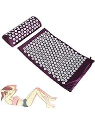 Aozzy Acupressure Mat & Head Cushion Set para Estimular y Mejorar Circulación (Púrpura)