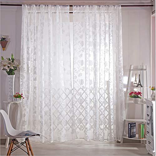Jamicy® 2er Set Gardinen transparent, Blätter Gardine Tüll Fenster Behandlung Voile drapieren Volant Stoff, 100 x 200cm (Weiß) - Behandlung Blatt