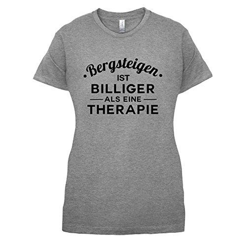 Bergsteigen ist billiger als eine Therapie - Damen T-Shirt - 14 Farben  Sportlich Grau
