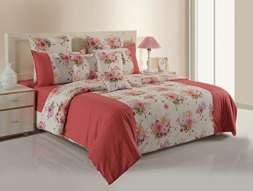Yuga 100% Baumwolle Rosa Mit Blumen Und Maroon Premium Qualität Bettwäsche Gefärbtes Garn Komplettes Bett In Einem Beutel -