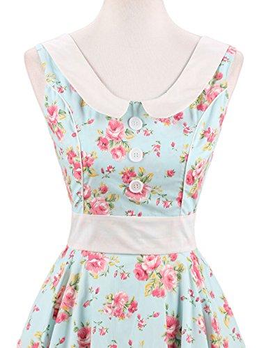 VKStar Retro Kleider Damen 50er 60er Vintage Kleider sommer ärmellos Rockabilly Abendkleid Hellgrün S - 3