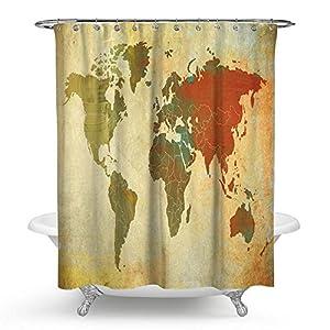 """kisy antiguo mapa del mundo cortina de ducha de baño resistente al agua textura de piedra retro Mapa del mundo baño cortina de ducha tamaño estándar 70""""x 70"""" amarillo marrón"""