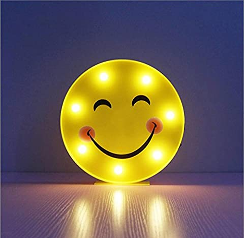 YROAR Lovely Smile Face Night Light Yellow Round Emotion Emoji Battery/USB Operated LED Lamp For Children Bedroom
