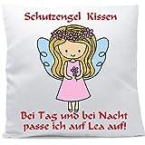 Kissen mit Namen Wunschtext Schutzengel Mädchen blonde Haare 40x40 cm inkl. Füllung Kuschelkissen,...