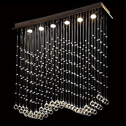 William 337 Regentropfen-Kristallleuchter, LED-Wellen-Küche-Insel-Beleuchtung L50 X W20 X H80 Cm 03 ( größe : 4 lights/80*25*100cm ) (Küche Insel-restaurants)