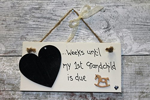 MadeAt94 Personalised Baby Shower Countdown Plaque Grandparents My1st Grandchild Gift