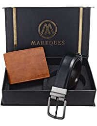 MarkQues Men's Tan And Black Leather Wallet & Belt Combo (GTH-2204 NL-0102)