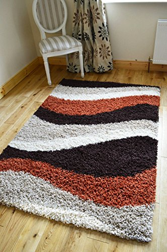 NEW SMALL - XX LARGE RUST BROWN BEIGE CREAM SHAGGY AREA RUG THICK RUNNERS SOFT SHAGGY RUG (200 X 270 CMS)