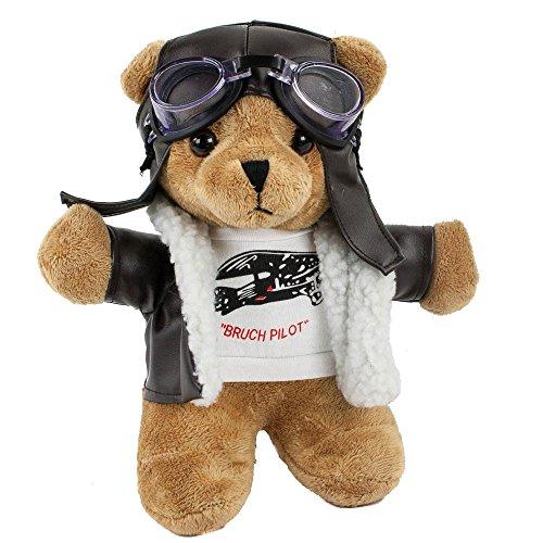 Teddys Rothenburg Kuscheltier Pilotbär, stehend, 24 cm, braun mit Pilotenoutfit, ()